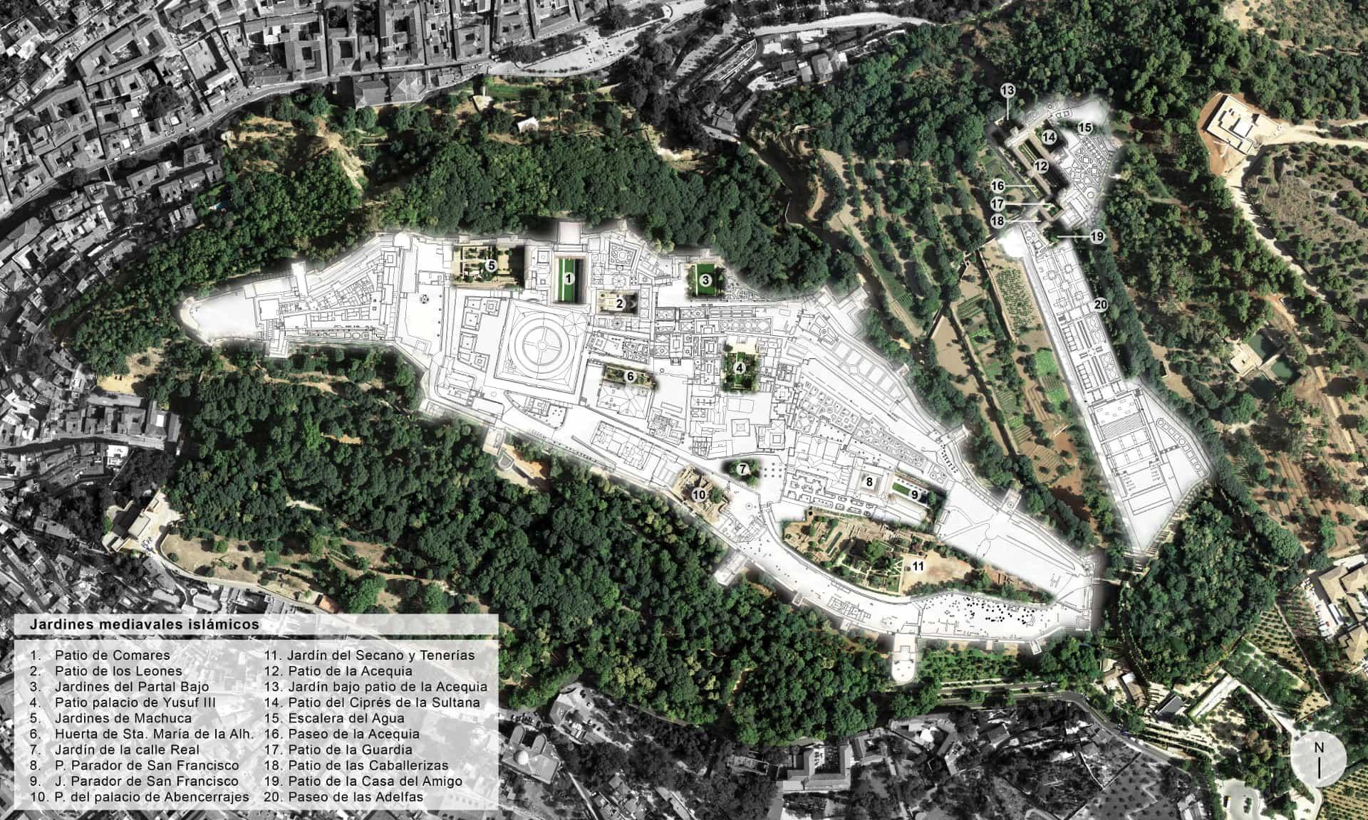 Plano de los jardines medievales, creados en la etapa nazarí