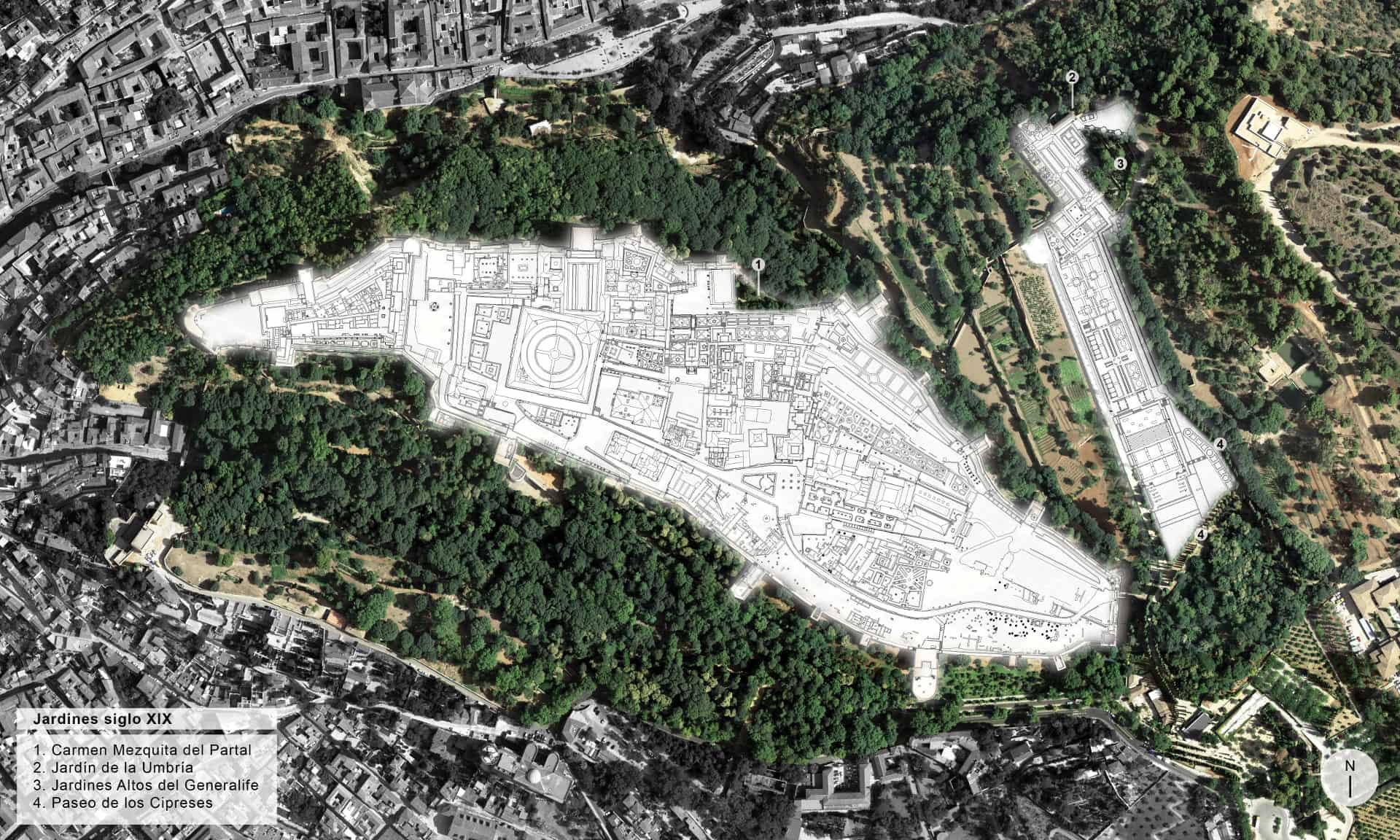 Plano de la Alhambra distribución de jardines siglo XIX