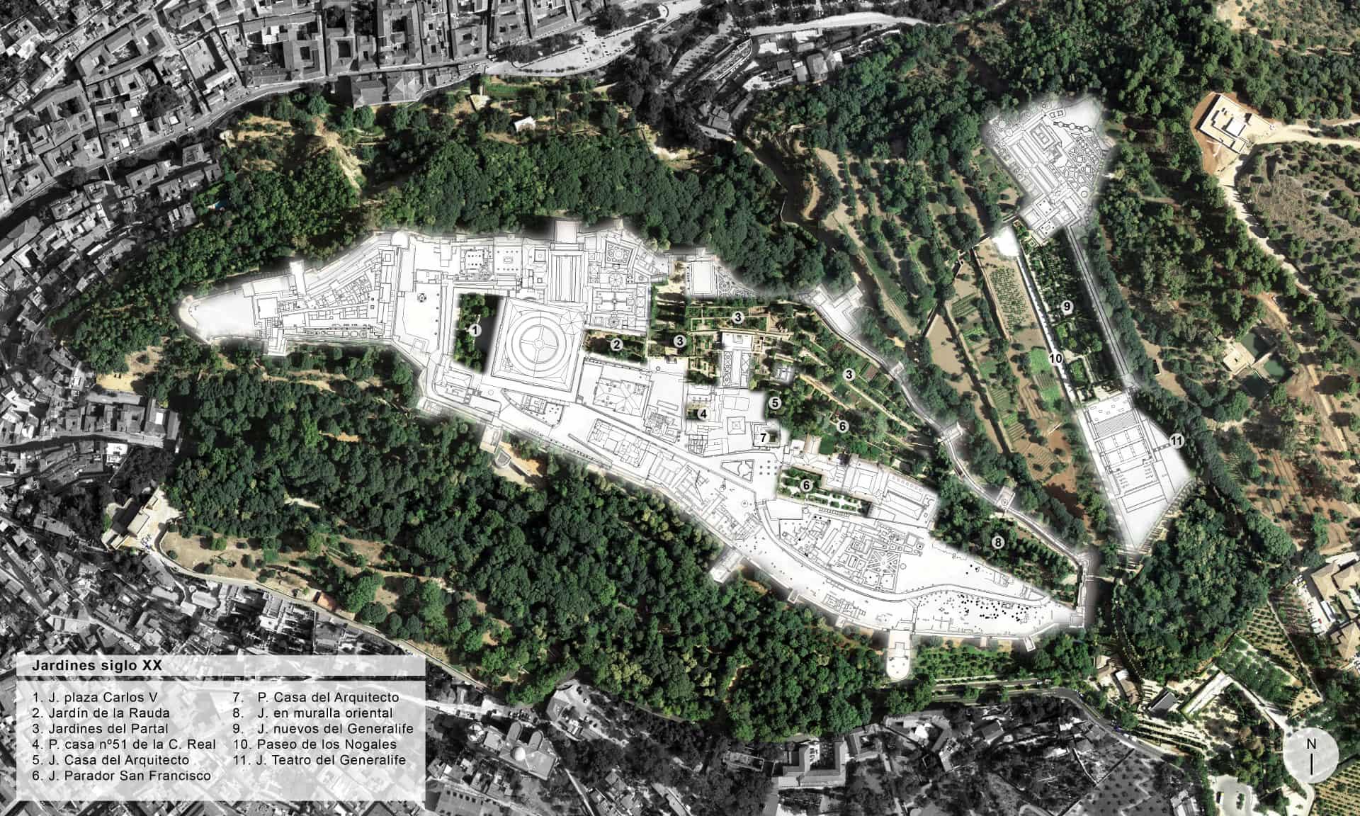 Distribución de los jardines en el siglo XX